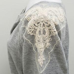 BAR III Lace Trimmed Sweatshirt